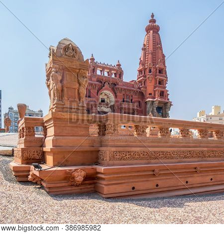 Angle View Of Baron Empain Palace, A Historic Mansion Inspired By The Cambodian Hindu Temple Of Angk