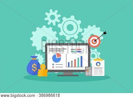 Return On Investment Roi Business Marketing Concept. Financial Chart, Data Analysis Vector Illustrat
