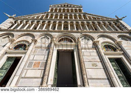 Facade Of The Pisa Cathedral (duomo Di Santa Maria Assunta), In Pisan Romanesque Style, Piazza Dei M