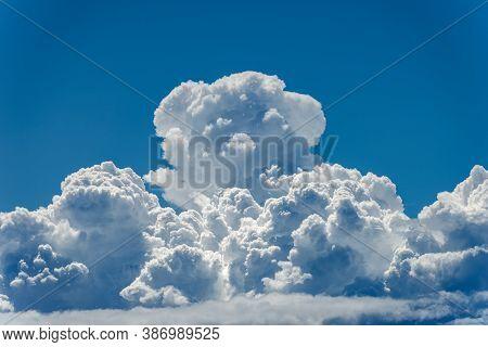 Cumulonimbus, Closeup Of Puffy White Clouds In The Blue Sky, Full Frame