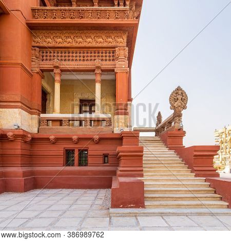 Staircase Leading To Balcony At Baron Empain Palace, A Historic Mansion Inspired By The Cambodian Hi