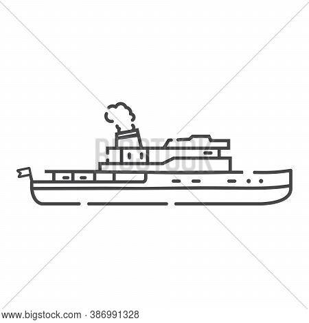 Steamship Icon. Ship Line Art. Vector Vessel Outline.old Steamer.