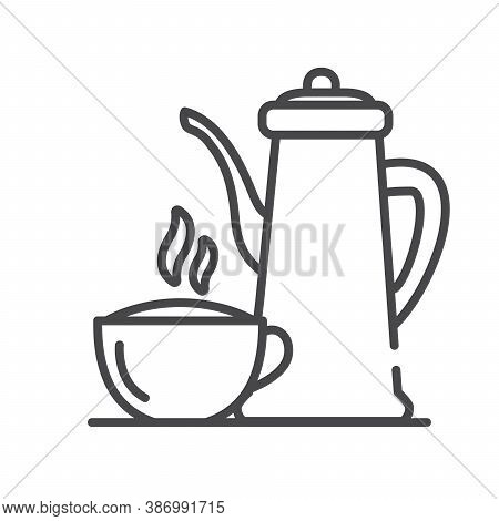 Coffee Pot And Cup. Hot Drink. Line Art Outline Vector.