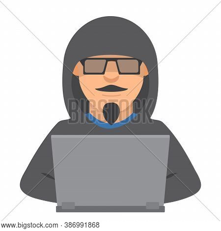 Computer Hacker With Laptop.criminal Steals Information.cartoon Character Is Stealing From A Interne