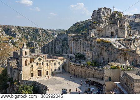 The Church Of Saint Pietro  Caveoso At Matera On Italy