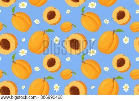 Seamless Pattern With Apricots. Ripe Fruit Apricot.
