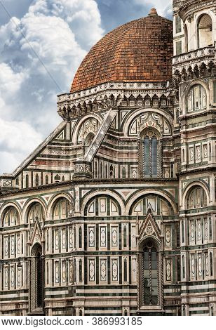 Closeup Of The Florence Cathedral, Duomo Of Santa Maria Del Fiore, Unesco World Heritage Site, Tusca