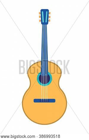 Classical Acoustic Guitar With Four Strings. Silhouette Classical Guitar Isolated In White Backgroun