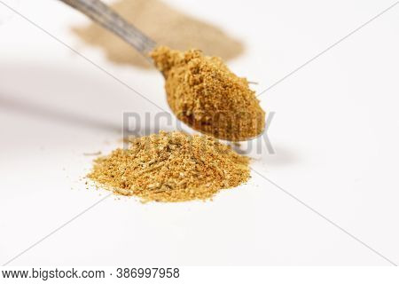 Seasoning Or Condiment For Chicken. Close-up Macro