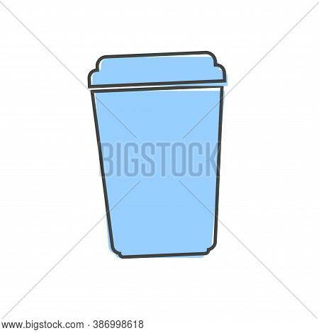 Vector Icon Disposable Cup Of Coffee Or Tea. Stale Coffee Drink In The Dishes Cartoon Style On White