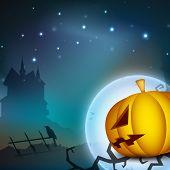 Scary pumpkin in Halloween moon light night. EPS 10. poster