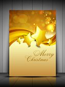 Merry Christmas greeting card, gift card and invitation card with Xmas stars on snowflakes wave background. EPS 10. poster
