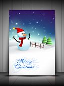 Happy snowman wearing Santa hat and scarf and Xmas trees for Merry Christmas greeting card, gift card or invitation card. EPS 10. poster