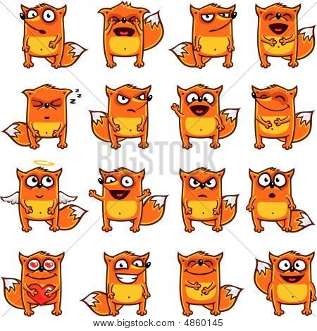 16 smiley foxes individually grouped for easy copy-n-paste.(1) poster