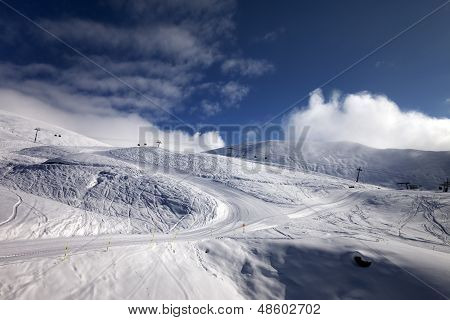 Ski Resort With Off-piste And Ratrac Slope.