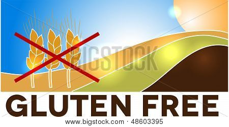 Gluten free design, landscape with weats crossed with red lines. poster