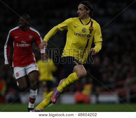 LONDON, ENGLAND. 31/03/2010. Barcelona player Zlatan Ibrahimovic?  in action during the  UEFA Champions League quarter-final between Arsenal and Barcelona at the Emirates Stadium