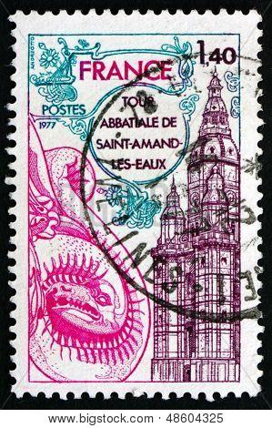 Postage Stamp France 1977 Abbey Tower, Saint-amand-les-eaux
