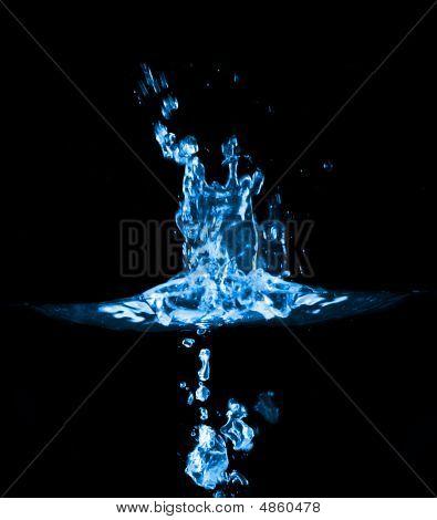 Splash In Blue Water On Black