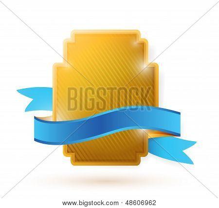 Gold Shield And Blue Ribbon Illustration