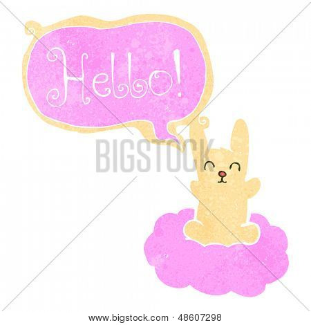 retro cartoon rabbit floating on cloud poster