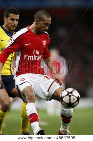 LONDON, ENGLAND. 31/03/2010. Arsenal player Gael Clichy in action during the  UEFA Champions League quarter-final between Arsenal and Barcelona at the Emirates Stadium