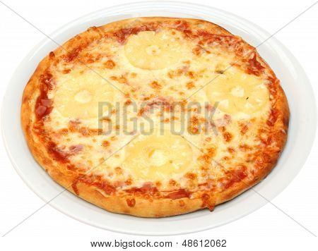 Pizza Tropicana with cheese, bacon, pineapple  isolated poster