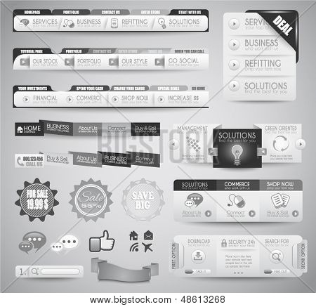 Quality clean web elements for blog and sites. Icons, header, carousel, infographic