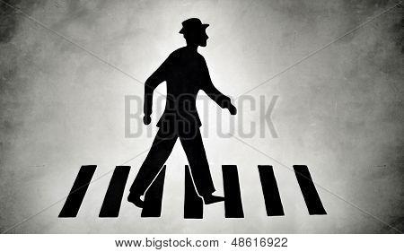 stylized pedestrian on zebra crossing street