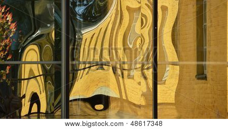 Yellow dancer house in the distorting mirror poster