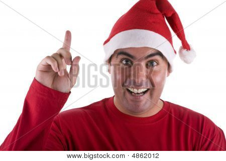 Man With Surprise Expression Wearing Red Santa Hat