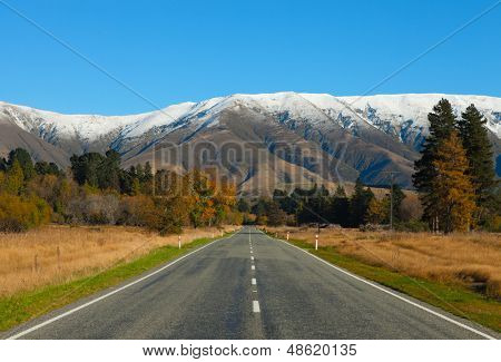 Straight road  in Canterbury region, NZ