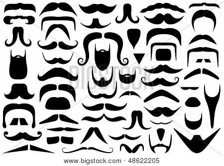 Set of different mustaches