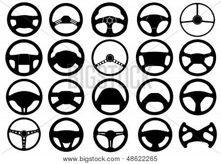 Set of different steering wheels isolated on white poster