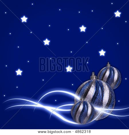 Blue Background With Glow Stars Christmas Balls