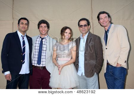 LOS ANGELES - JUL 29:  Kal Penn, Chris SMith, Rebecca Breeds, Tony Shalhoub, Jerry O'Connell arrives at the 2013 CBS TCA Summer Party at the private location on July 29, 2013 in Beverly Hills, CA