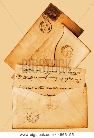 Old Victorian Letters 1860S Sepia