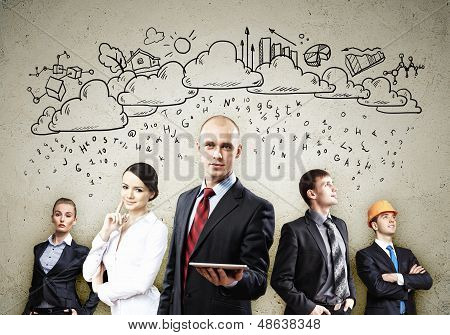 Image of young businesspeople team. Collage background poster