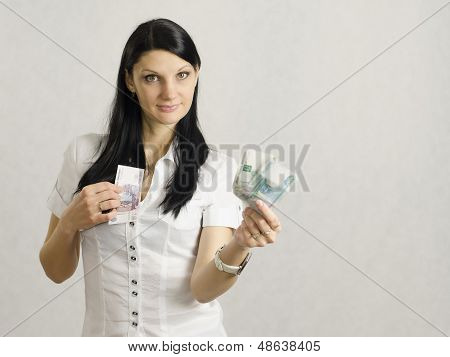 Woman Holding Bank Notes