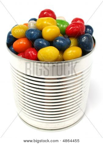 Multi-coloured Sweets With Raisin In Metal Bank