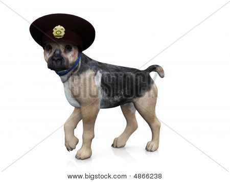 A german shepherd dog with a police hat on his head. poster