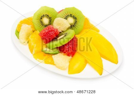 Fruit Salad Isolated On White