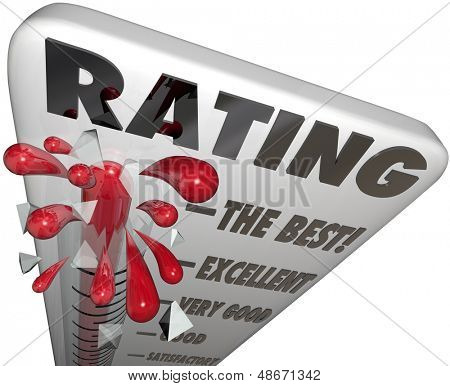 A thermometer with the word Rating to measure your score, review, quality or reputation, at levels The Best, Excellent, Very Good, Good and Satisfactory