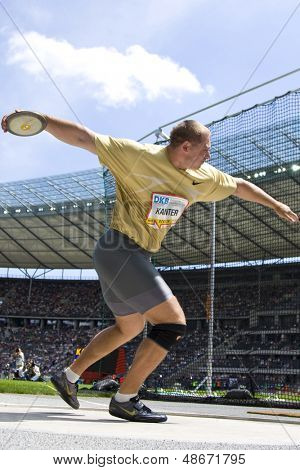 June 14 2009; Berlin Germany. Gerd Kanter (Est) competing in the discus at the DKB ISTAF 68 International Stadionfest Golden League Athletics competition.