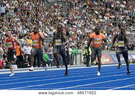 June 14 2009; Berlin Germany. Schwab Williamson Burns Edwards and Bailey competing in the 400mtrs at the DKB ISTAF 68 International Stadionfest Golden League Athletics competition.