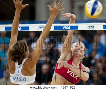 12/08/2011 LONDON, ENGLAND, Shauna Mullin & Zara Dampney (GBR) vs Alejandra Simon & Andrea Garci�­a Gonzalo (ESP) during the FIVB Beach Volleyball, at Horse Guards Parade, Westminster, London.