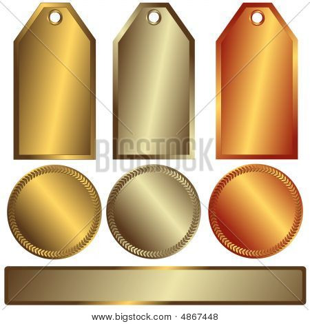 Gold, Silver And Bronze Banners (vector)