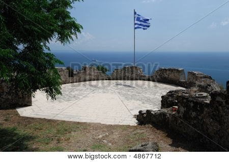 Greek Flag At The Ancient Tower