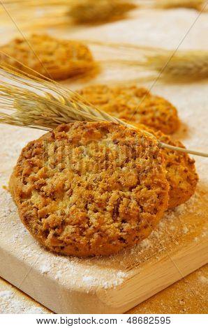 closeup of some bran flake cookies and some wheat ears