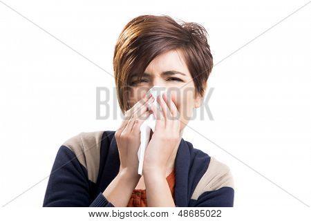 Porträt einer Frau mit Grippe, isolated over white background